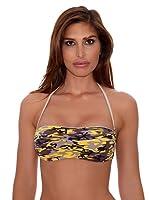 R&S Fashion Sujetador Bikini Bandeau Varadero (Amarillo / Beige)