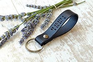 Latitude Longitude Leather Keychain - GPS Coordinates Location Key ring - Mens Keychain - Anniversary Gift for Him - Custom Groomsmen Gift