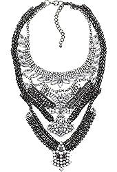 Silver Gunmetal Crystal Statement Necklace
