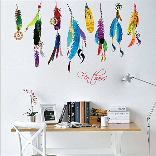 zooarts-color-plumes-Lucky-Sticker-mural-DIY-Home-Decor
