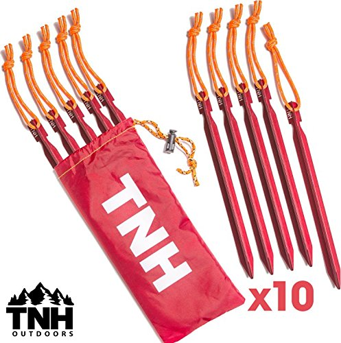10X Tent Stakes & Bag - 0.5 oz - Reflective Rope - Lifetime Warranty (Commercial Tent Stakes compare prices)