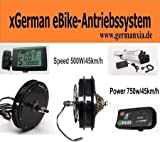 xGerman Nachrüstsatz 500W/36V, 20' Vorderradantrieb mit LED-Display & Gepäckträgerakku 11 Ah