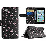 Floral and Paisley Vintage Leather Wallet Flip Case Cover Stand for iPhone 6 and 5C (iPhone 5C, Black Hearts & Bows)