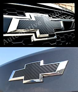 Chevy Cruze 2011-2013 2012 : Black Carbon Fiber Grille & Trunk Bowtie Emblem Vinyl Cover Decal Wrap Sticker