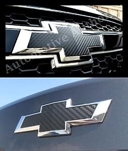 Chevy Cruze 2011-2013 2012 : Black Carbon Fiber Grille & Trunk Bowtie Emblem Vinyl Cover Decal Wrap Sticker