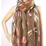 Ladies Womens Fashion Scarf Animal Print Dragonfly Brown Scarf Shawl Wrap