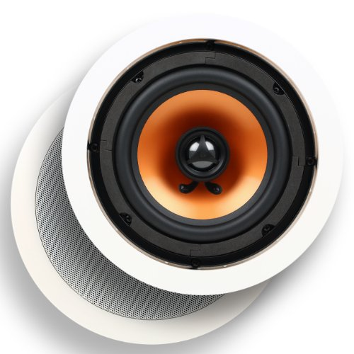 Micca M-6C 6.5-Inch 2-Way In-Ceiling In-Wall Speaker With Pivoting 1-Inch Silk Dome Tweeter, White