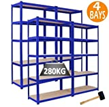 4 Racking Bays 90cm x 180cm x 45cm 5 tier Shelving Bays Storage Shelf Unit Warehouse Garage Workshop Heavy Duty Boltless Steel Free Mallet