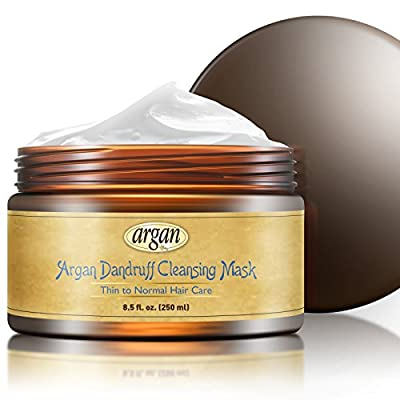 Dandruff Cleansing Deep Conditioner Mask - Thin Fine Hair Care - Moroccan Argan Masque 8.5 oz - Deep Cleanse Hair & Scalp Dandruff Flakes with Long Lasting Conditioning