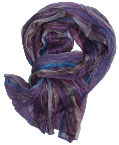 LibbySue-Watercolor Summer Stripe Scarf in Beach Plum, Sand Tan & Caribbean Blue
