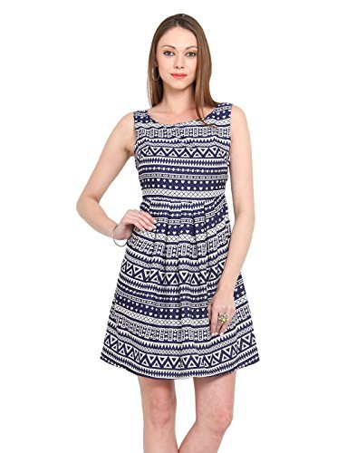 Heart, Plus, triangle A-line printed dress. Blue color