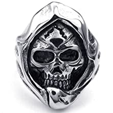 buy Mens Rings Stainless Steel Punk Gothic Grim Reaper Skull Black Silver Size 13 By Aienid