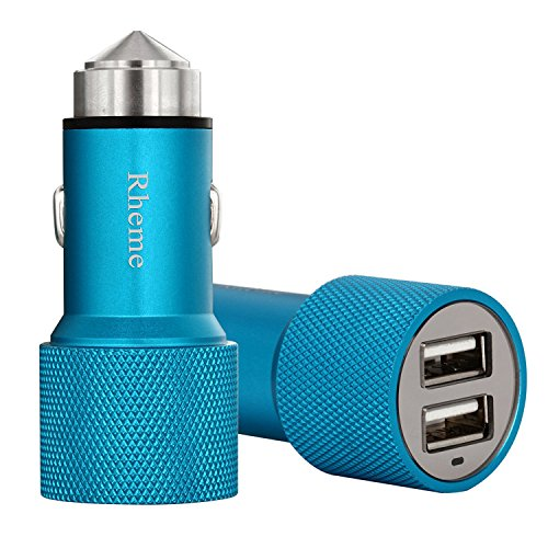 Blue : Rheme CX-007d 2 Port USB Car Charger 3. 1A 24W Smart Dual USB Port Aluminium Car Charger Portable Travel...