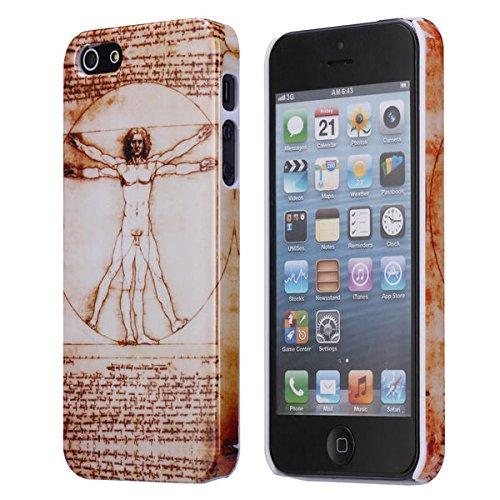 Cover per Iphone 5 e 5s/ Custodia in plastica rigida con raffigurata l'opera Uomo vitruviamo di Leonardo da Vinci