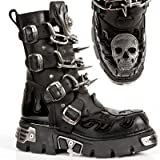 NEW ROCK, Men's Boots with Chains, Spikes ,Silver leather Skull details.Leather Uppers Lining. M.727-S1