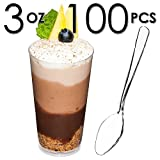 DLux 100 x 3 oz Mini Dessert Cups with Spoons, Shooter - Clear Plastic Parfait Appetizer Cup - Small Disposable Reusable Shot Glass for Tasting Party Shooters Desserts Appetizers - With Recipe Ebook