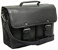 "Kenneth Cole Reaction ""I'm A Flap-py Camper"" Colombian Leather Computer Case Messenger Bag/Briefcase Black"