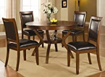 Hot Sale 5pc Casual Dining Table and Chairs Set in Brown Walnut Finish