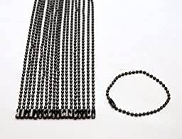 Amanaote Gun Black 2 mm Diameter Ball Chain 120 mm Length Metal Bead Chain for Pendant Pack of 50