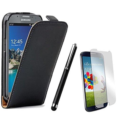 Rhaise Handyhülle Samsung Galaxy S Duos 2 GT S7580 Hülle Tasche Flip Case Schutzhülle Kunstleder Etui Schwarz 1 Folie / 1 Eingabestift