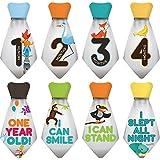"""NEW! Stick'Nsnap (TM) 15 Baby Monthly Necktie Onesie Stickers - """"Happy Animals"""" (TM), Gray. Milestones For 12..."""