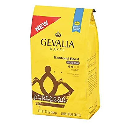 Gevalia Kaffee Traditional Roast, Whole Bean Coffee 12 oz (Pack of 6)