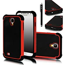 buy Galaxy S4 Case, E Lv Galaxy S4 Case - Hybrid Dual Layer Armor Defender Protective Case Cover (Hard Plastic With Soft Silicon) For Samsung Galaxy S4 S Iv I9500 With 1 Screen Protector, 1 Black Stylus And E Lv Microfiber Sticker Digital Cleaner (Red)