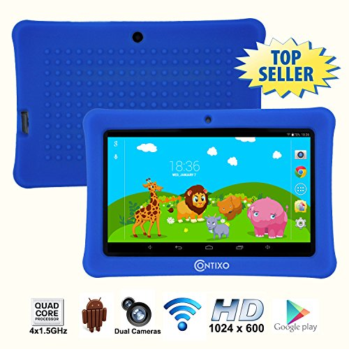 * Memorial Day Special * Contixo 7 Inch Quad Core Android 4.4 Kids Tablet, HD Display 1024x600, 1GB RAM, 8GB Storage, Dual Cameras, Wi-Fi, Kids Place App & Google Play Store Pre-installed, 2015 May Edition, Kid-Proof Case (Dark Blue)