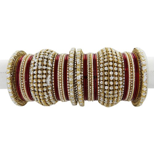 Wedding Wear Gold Tone Maroon Bangle Bracelet Indian Party Women Costume Jewellery Churi Gift 2*6