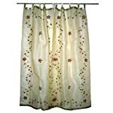 Curtain-2 Organza Platinum Base with Red Bell Embroidered Sari Curtains Drapes Panelby Mogulinterior