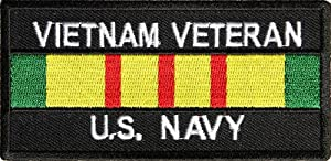 US Navy Vietnam Veteran Patch, 4x2 inch, small embroidered iron on military vet patch
