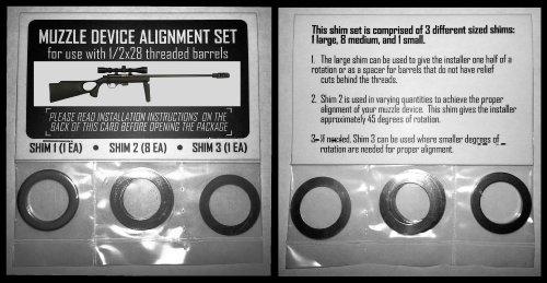 Muzzle Brake Alignment Shim Set For Threaded Rifle Barrels (1/2