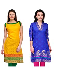 Cenizas Women's Brasso Yellow Kurtas Pack Of 2 ( 2100YLOW & 2200BLU)