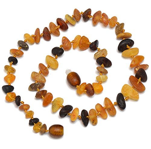 Genuine Baltic Amber Teething Necklace for Babies - Safety Knotted - Raw - 1