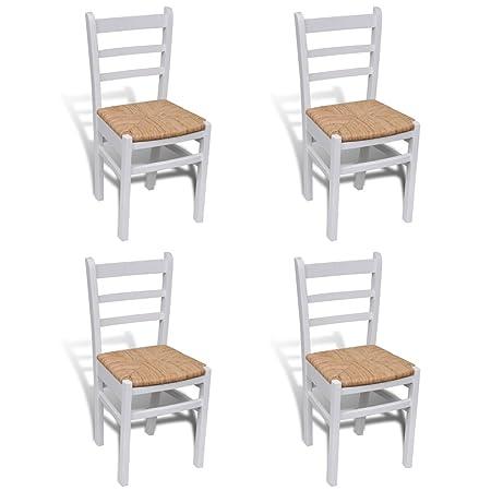 Sillas blancas de madera para comedor - 4 piezas