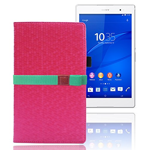 LOE(ロエ) SONY Xperia Z3 Tablet Compact タブレット専用 PUレザーケース (型番ZTR457)  3点セット[ケース+液晶保護フィルム+カラーベルト] (ピンク)