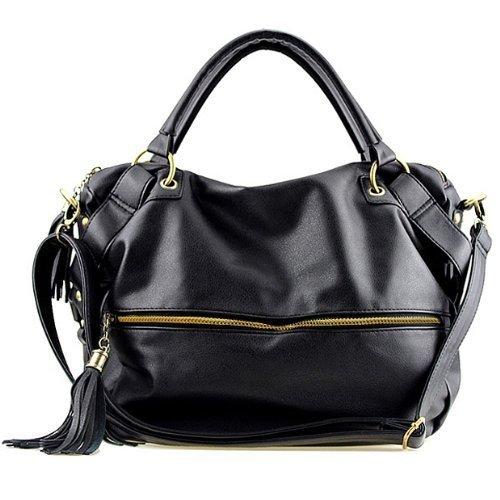 THG Black Fashion Lady Women Young Girl Casual Adjustable Clutch Tote Shoulder Messenger Handbags Purse Hobo Bag
