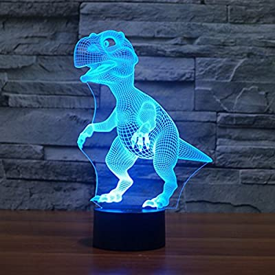 Dinosaur 3D Night Light Touch Table Desk Lamps, Elstey 7 Color Changing Lights with Acrylic Flat & ABS Base & USB Cabler for Home Decor