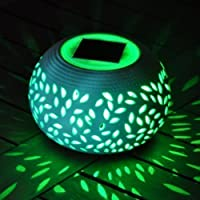 2 X Colour Changing Solar Powered Ceramic LED Light from Kingfisher