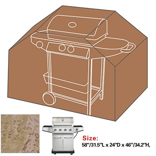 """Bbq Protector Outdoor New 58""""/31.5""""L * 24""""D * 46""""/34.2""""T Classic Veranda Cart Gas Grill Barbeque Cover-Tan"""