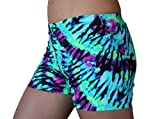 Neon Tie Dye Spandex Compression Shorts - 4 inch in-seam (Small)