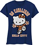 NCAA Virginia Cavaliers Hello Kitty Pom Pom Girls' Crew Tee Shirt