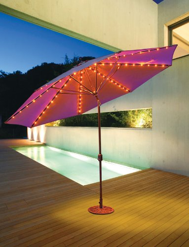 11 Ft Round Aluminium Market Umbrella - Led Light & Auto Tilt, Suncrylic Fabric By Galtech