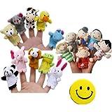 SODIAL(R) Story Time Finger Puppets - 10 pcs Velvet Animal and 6 pcs Soft Plush Family Puppets With Bonus