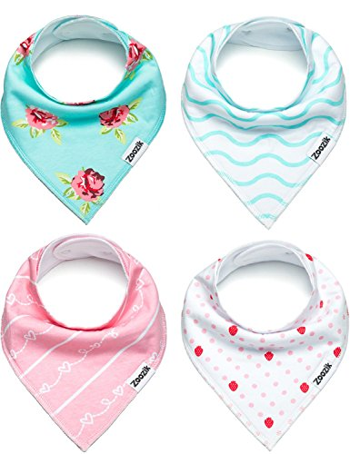 Baby Bandana Drool Bibs, 4-Pack Christmas Gift Set for Drooling and Teething Girls, 100% Organic Cotton, Soft, Absorbent, Hypoallergenic -