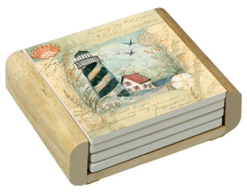CounterArt Shore Thing Design Square Absorbent Coasters in Wooden Holder, Set of 4