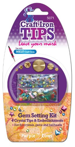 Purple Cows 5071 Artistic Craft Iron Gem Setting Kit with Multicolored Crystals