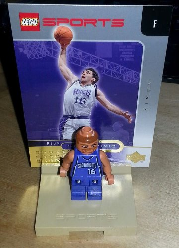 LEGO - Official NBA Lego Mini-Figures - PEJA STOJAKOVIC Mini Figure - w/ stand & card