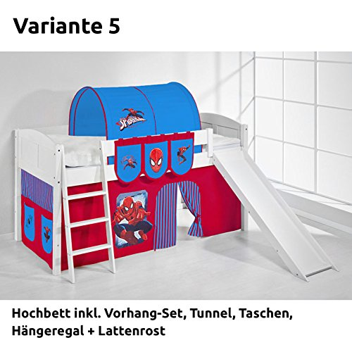 Hochbett Spielbett IDA Spiderman, mit Rutsche und Vorhang, weiß, Variante 5
