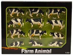 Kids Globe Farming - Caja de 12 vacas de plástico (Van Manen 571929)